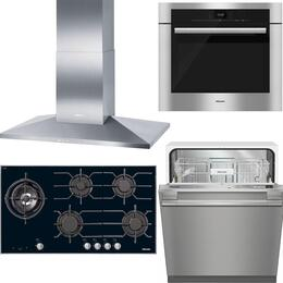 "4-Piece Stainless Steel Kitchen Package with KM3054LP 37"" Liquid Propane Cooktop, DA3906 40"" Mount Ducted Hood, H6680BP 30"" Single Wall Oven, and G4977VISF 24"" Fully Integrated Dishwasher"