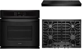 "Frigidaire Gallery 3-Piece Kitchen Package With FGGC3045QB 30"" Gas Cooktop, FGEW3065PB 30"" Electric Single Wall Oven and FHWC3025MB 30"" Under Cabinet Convertible Hood in Black"