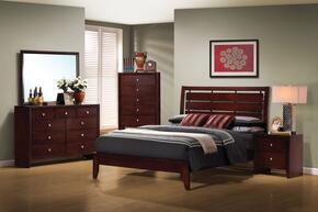 Serenity Collection 201971QSET 5 PC Bedroom Set with Queen Size Bed + Dresser + Mirror + Chest + Nightstand in Rich Merlot Finish