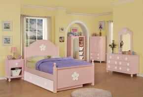 Floresville 00730F6PCSET 6 PC Bedroom Set with Bed + Dresser + Mirror + Chest + Nightstand + TV Armoire in Pink Finish