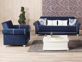 Royal Home ROHOSBACRDB Package Containing Sofa Bed and Armchair with Nail Head Accents, Turned Feet, Sliders and Rolled Arms in Riva Dark Blue