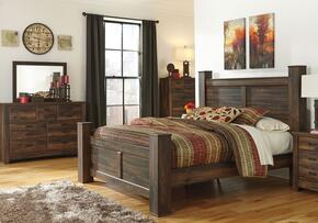 Quinden King Bedroom Set with Poster Bed, Dresser, Mirror and Chest in Dark Brown