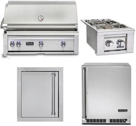 """4-Piece Stainless Steel Outdoor Kitchen Package with VQGI5420LSS 42"""" Built-In Liquid Propane Grill, VQGSB5130LSS 13"""" Side Burner, VOADS5180SS 18"""" Access Door, and VRUO5240DRSS 24"""" Outdoor Refrigerator"""