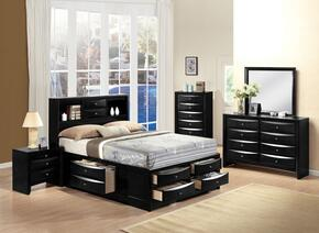Ireland 21610Q5PC Bedroom Set with Queen Size Bed + Dresser + Mirror + Chest + Nightstand in Black Color