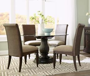Jessa 4980RDT4WSC 5-Piece Dining Room Set with Round Dining Table and 4 Woven Side Chairs in Dark Brown Finish