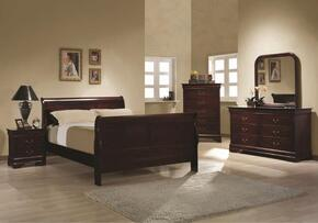 203971QSET5 Louis Philippe 5 Pc Bedroom Set in Cherry Finish (Bed, Nightstand, Dresser, Mirror, and Chest)