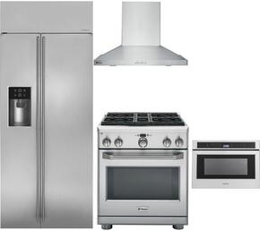 "4-Piece Stainless Steel Kitchen Package with ZISS360DKSS 36"" Side by Side Refrigerator, ZGP304LRSS 30"" Freestanding Liquid Propane Range, ZV830SMSS 30"" Wall Mount Hood, and ZWL1126SJSS 24"" Microwave Drawer"