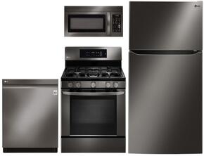 "4-Piece Kitchen Package with LTCS24223D 33"" Top Freezer Refrigerator , LRG3061BD 30"" Freestanding Gas Range, LMV1831BD 30"" Over the Range Microwave, and LDP6797BD 24"" Built In Fully Integrated Dishwasher in Black Stainless Steel"