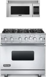 """2-Piece Stainless Steel Kitchen Package with VGIC53616BSS 36"""" Freestanding Gas Range, and VMOS201SS 24"""" Countertop Microwave with VMTK302SS 30"""" Built-In Trim Kit"""