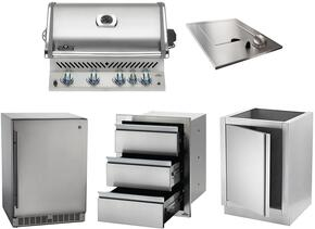 "5-Piece Stainless Steel Kitchen Package with BIPRO500RBPSS 30"" Liquid Propane Grill, N3700504 14"" Side Burner, NFR055ORSS 24"" Outdoor Refrigerator, IMUDC 24"" Access Door, and IM2DC 24"" Storage Drawer"
