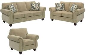 Cassandra 3688QGSLC/8994-82/4045-43/1021-22 3-Piece Living Room Set with Queen Good Night Sleeper, Loveseat and Chair in 8994-82 Body, 4045-43 Pillows, 1021-22 Fringes and Affinity Finish
