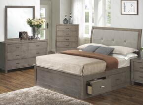 G1205BQSBDM 3 Piece Set including Queen Storage Bed, Dresser and Mirror in Gray