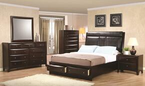 Phoenix 200419KESET 5 PC Bedroom Set with Eastern King Size Platform Bed + Dresser + Mirror + Chest + Nightstand in Cappuccino Finish
