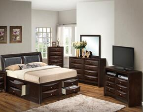 G1525IKSB4DMCHTV2 5 Piece Set including  King  Size Bed, Dresser, Mirror, Chest and Media Chest in Cappuccino