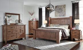 Tamilo Queen Bedroom Set with Poster Bed, Dresser, Mirror, 2 Nightstands and Chest in Greyish Brown Finish