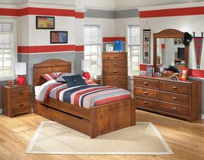 Barchan Twin Bedroom Set with Panel Bed with Trundle, Dresser, Mirror, Chest and 2 Nightstands in Warm Brown