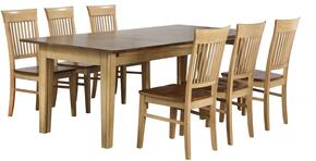 Brook Collection DLU-BR134-C70-PW7PC 7 PC Dining Room Set with Dining Table + 6 Side Chairs