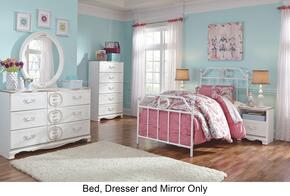 Korabella Full Bedroom Set with Metal Bed, Dresser and Mirror in White Finish