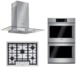 """3-Piece Stainless Steel Kitchen Package with NGMP655UC 36"""" Natural Gas Cooktop, HBLP651LUC 30"""" Double Wall Oven, and HCG56651UC 36"""" Wall Mount Hood"""