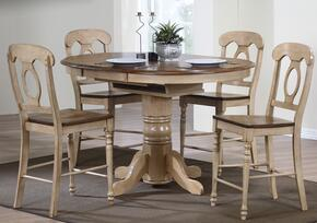 Brook Collection DLU-BR4260CB-B50-PW5PC 5 Piece Round or Oval Butterfuly Leaf Pub Table Set with Napoleon Stools