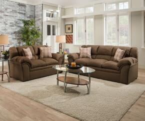 "Venture 1720-03172002 39"" Sofa and Loveseat with Fabric Upholstery, Plush Padded Arms in Chocolate"