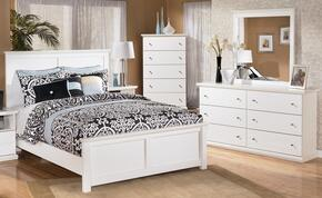 Melton Collection King Bedroom Set with Panel Bed, Dresser, Mirror and Chest in White