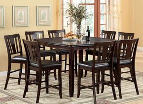 Edgewood II Collection CM3336PT8PC 9-Piece Dining Room Set with Square Table and 8 Counter Height Side Chairs in Espresso Finish
