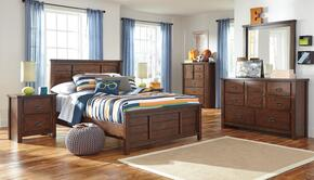 Ladiville Full Bedroom Set with Panel Bed, Dresser, Mirror and Nightstand in Rustic Brown
