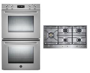 "Professional 2-Piece Stainless Steel Kitchen Package with FD30PROXE 30"" Double Electric Wall Oven and PM365S0X 36"" Gas Cooktop"