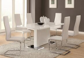 Nameth 102310SETW 9-Piece Dining Room Set with Table + 8 Side Chairs in White
