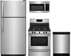 "Frigidaire 4-Piece Stainless Steel Kitchen Package with FFTR1821TS 30"" Top Freezer Refrigerator, FFGF3054TS 30"" Freestanding Gas Range, FFBD2412SS 24""  Full Console Dishwasher and FFMV1645TS 30"" Over-the-Range Microwave oven"