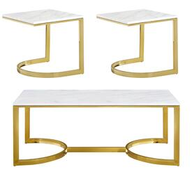 London Collection 2173PCRC2SEKIT1 3-Piece Living Room Table Sets with Coffee Table, and 2x End Table in Rich Gold