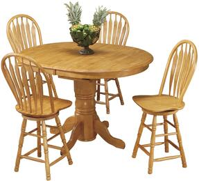 Sunset Selections Collection DLU-TBX4266CB-B24-LO5PC 5 Piece Pub Table Set with Oval Table + 4 Swivel Barstools