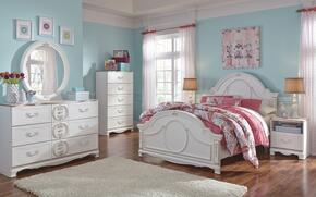 Korabella Full Bedroom Set with Panel Bed, Dresser, Mirror and Night Stand in White Finish