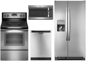 "WH4PCFSSBS30EFCSSKIT1 4-Piece Stainless Steel Kitchen Package with WRS325FDAM 36"" Side-by-Side Refrigerator, WFE515S0ES 30"" Freestanding Electric Range, WDF520PADM 24"" Built In Dishwasher and WMH31017FS 30"" Over The Range Microwave"