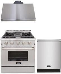 "3-Piece Package With KRG3080U 30"" Gas Range, KRH3005U 30"" Under Cabinet hood and K6502D 24"" Dishwasher in Stainless Steel"
