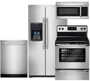 "4-Piece Stainless Steel Kitchen Package with FFHS2622MS 36"" Side-by-Side Refrigerator, FFEF3048LS 30"" Electric Range, FFID2423RS 24"" Full Console Dishwasher and FFMV164LS 30"" Over the Range Microwave"