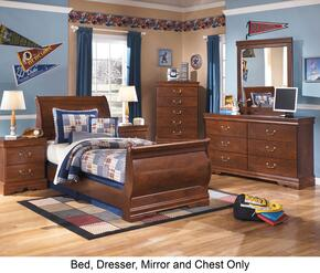 Wilmington Twin Bedroom Set with Sleigh Bed, Dresser, Mirror and Chest in Reddish Brown