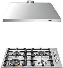 "2-Piece Stainless Steel Kitchen Package with QB30400XLP 30""  Liquid Propane Cooktop and KU30PRO1X14 30"" Canopy Hood"