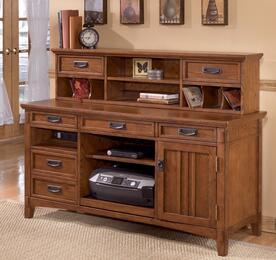 Cross Island H3194648SET Home Office Desk Set with Large Credenza and Short Hutch in Medium Brown Finish