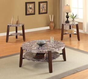 Lilith 80955CE 3 PC Living Room Table Set with Coffee Table + 2 End Tables in Cherry Finish