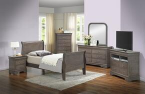 G3105ATBSET 6 PC Bedroom Set with Twin Size Sleigh Bed + Dresser + Mirror + Chest + Nightstand + Media Chest in Grey Finish
