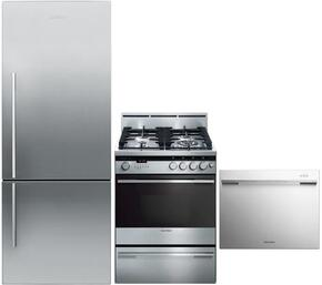 "3-Piece Stainless Steel Kitchen Package with RF135BDRX4 25"" Right Hinge Counter Depth Bottom Freezer Refrigerator, OR24SDMBGX2 24"" Freestanding Gas Range and DD24SDFX7 24"" Semi Integrated Single Drawer Dishwasher"