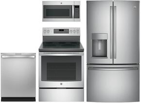 "4-Piece Stainless Steel Kitchen Package with GFD28GSLSS 36"" French Door Refrigerator, JB750SJSS 30"" Freestanding Electric Range, JVM7195SKSS 30"" Over the Range Microwave Oven, and GDT655SSJSS 24"" Fully Integrated Dishwasher"