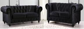 Chesterfield 662BL-S-L 2 Piece Living Room Set with Sofa + and Loveseat in Black