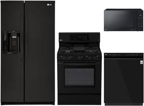 """4-Piece Kitchen Package with LSXS26326B 33"""" Side by Side Refrigerator, LRG3193SB 30"""" Freestanding Gas Range, LMVM2033SB 30"""" Over the Range Microwave, and LDP6797BB 24"""" Built In Fully Integrated Dishwasher in Black"""