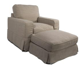 Americana Collection SU-108520-30-466082 Slipcovered Chair and Ottoman in Linen
