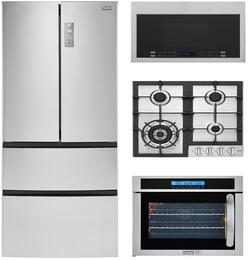 "4-Piece Stainless Steel Kitchen Package with HRF15N3AGS 28"" French Door Refrigerator, HCC2230AGS 24"" Natural Gas Cooktop, HCW225LAES 24"" Single Wall Oven, and HMV1472BHS 24"" Over the Range Microwave"