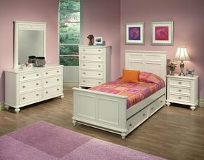 30005TDMCN Athena Twin Size Bed + Dresser + Mirror + Chest + Nightstand in White