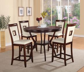 Oswell 71605T4C Bar Table Set with Counter Height Table + 4 Chairs in Cherry Finish